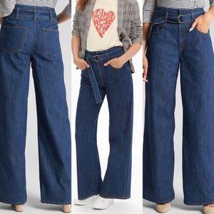 NWT GAP 70s inspired wide leg jeans 26 high waist